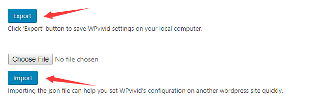 Export and import settings utilities