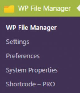 File Manager options and settings