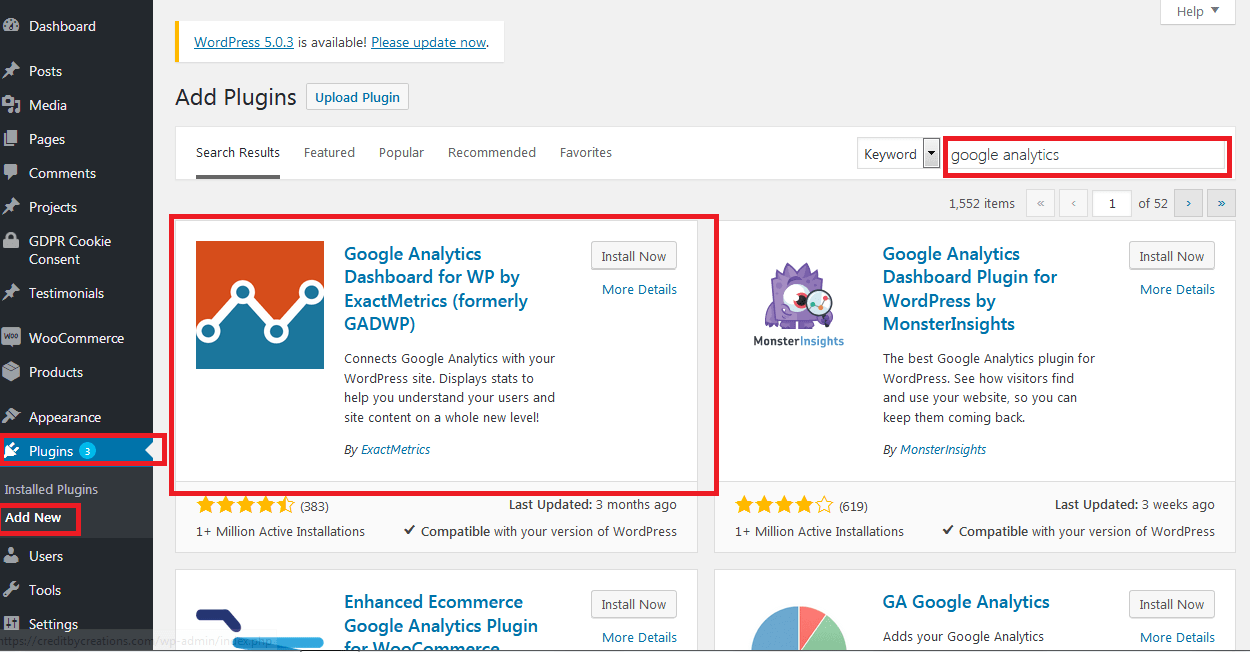 Install Google Analytics Dashboard for WordPress