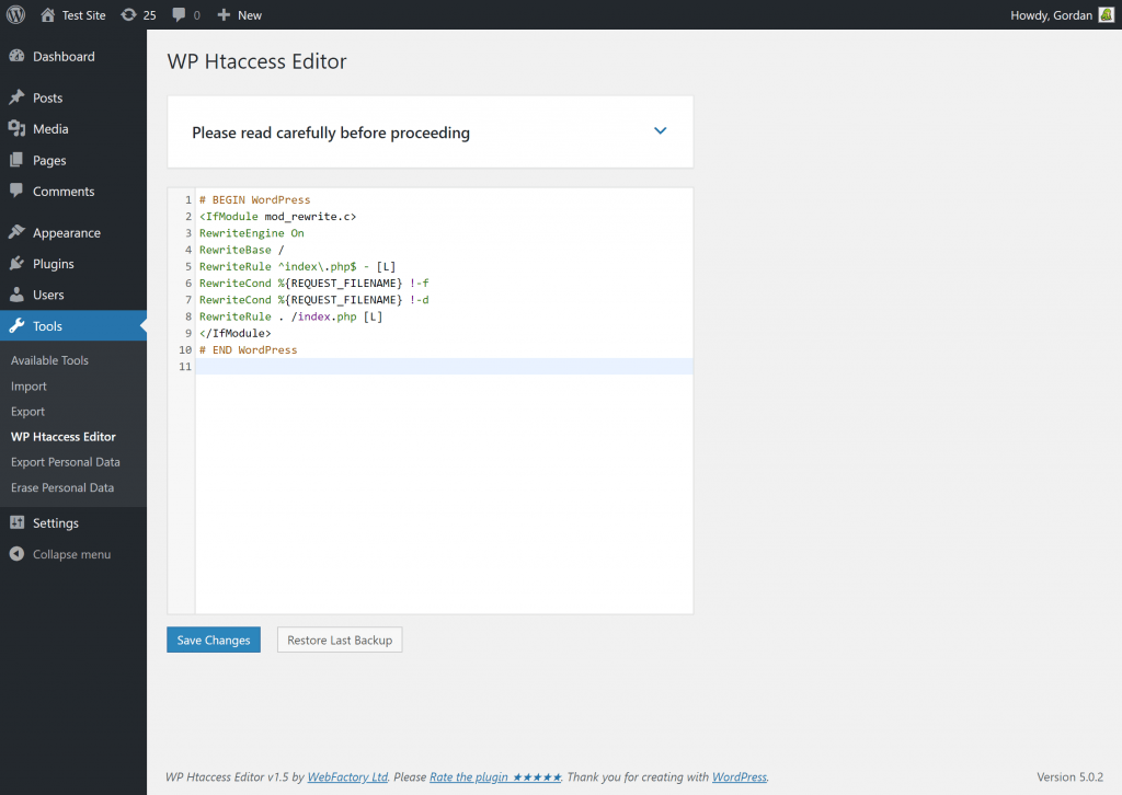 activated htaccess editor plugin