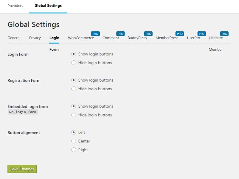 Nextend Social Login global settings login