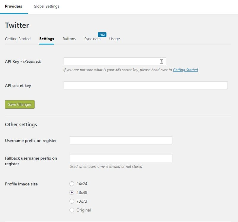 Nextend Social Login twitter settings
