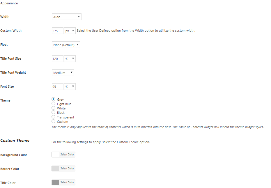 easy table of contents plugin settings 3