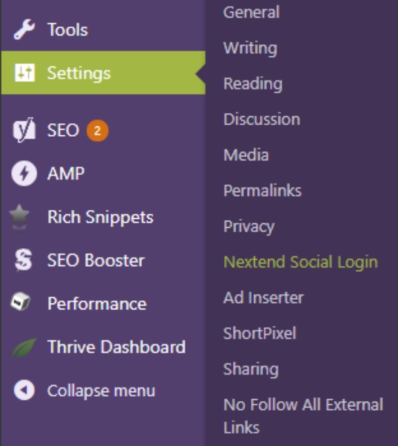 Settings Nextend social login