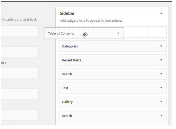 Create TOC in Sidebar