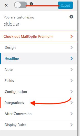 configure mailoptin - sidebar