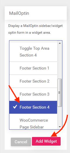 add MailOptin to widget