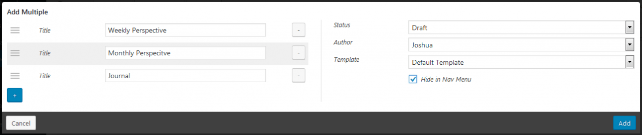 Nested page - Add multiple