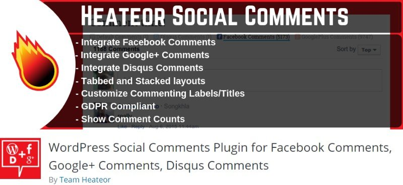 Heateor comment system plugin