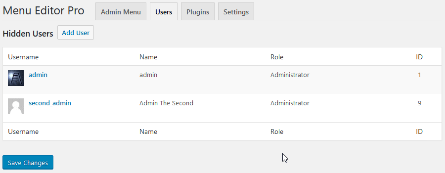 Hide menu from user roles
