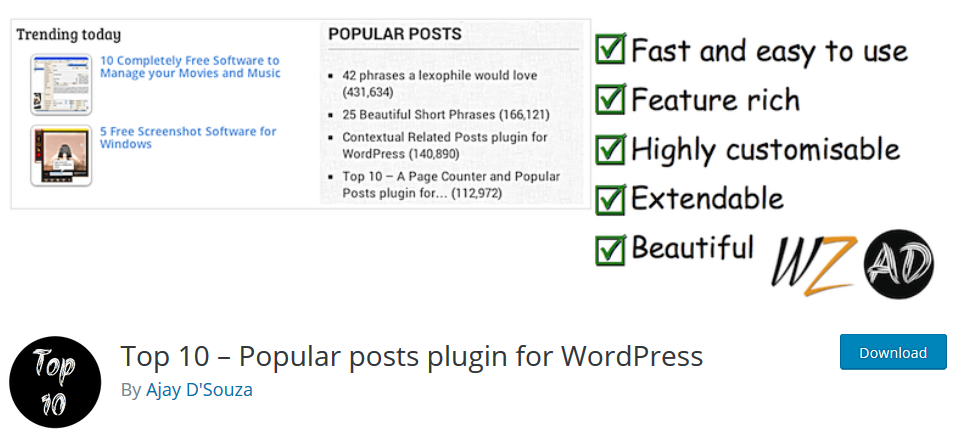 Top 10 – Popular Posts Plugin for WordPress
