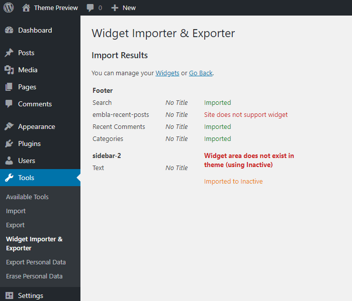 Troubleshoot widget import