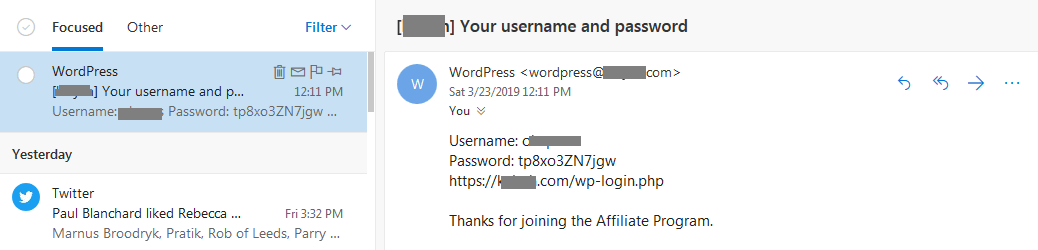affiliate area registration email