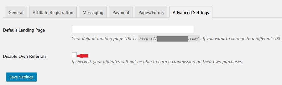 affiliates manager settings advanced