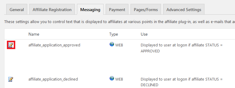 affiliates manager settings messages