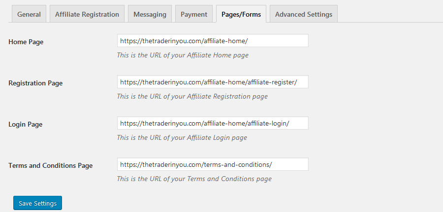 affiliates manager settings pages