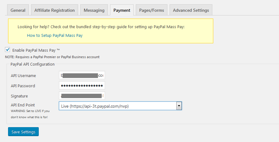 affiliates manager settings payment