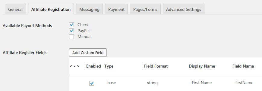 affiliates manager settings registration