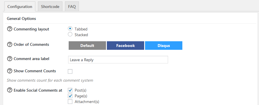 configuration on Heateor Social Commnets plugin