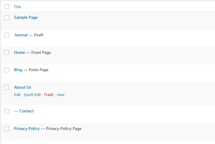 Wordpress default pages list