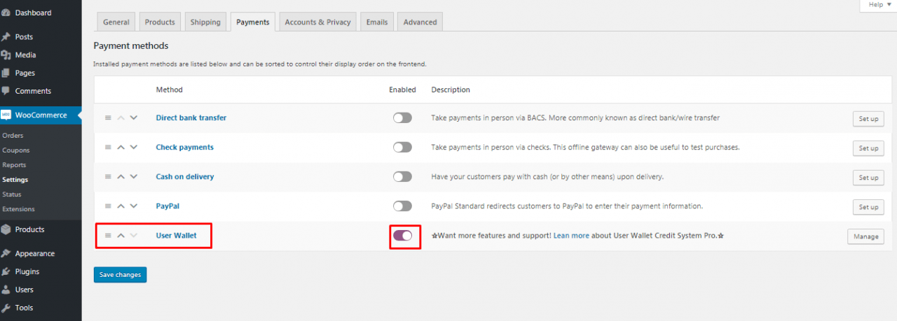 enable the user wallet payment option