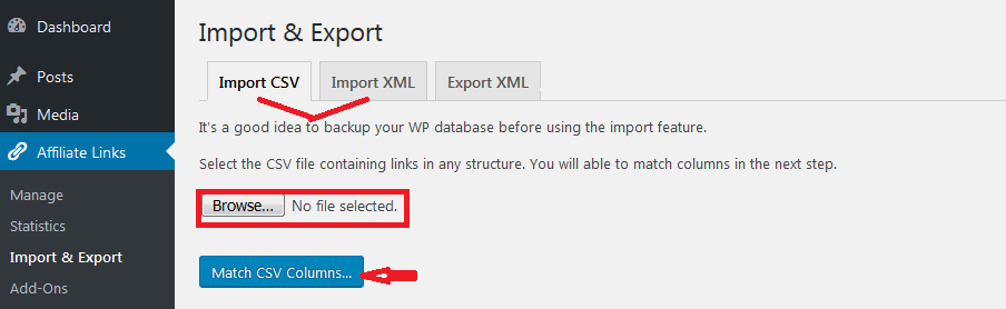 import CSV or import XML