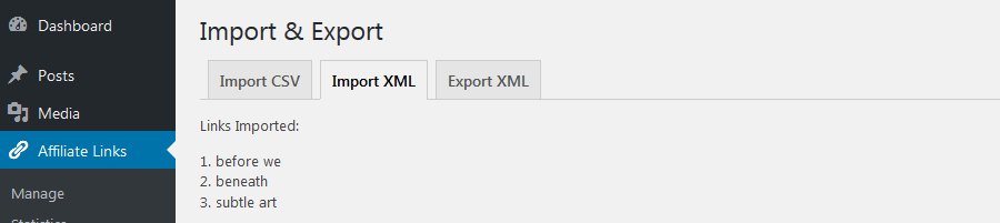 import affiliate links from xml files