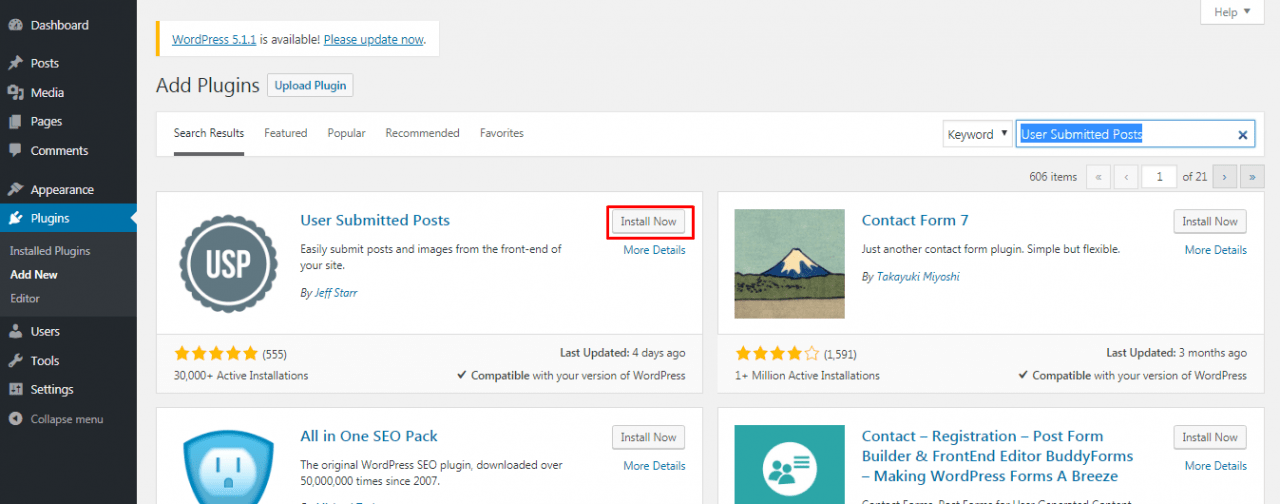 install User Submitted Posts plugin