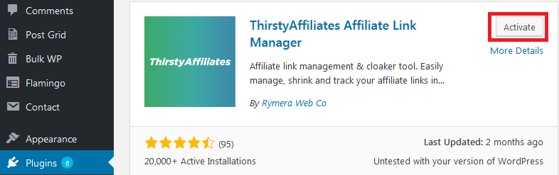 install and activate ThirstyAffliates plugin