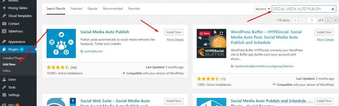 install social media auto post plugin