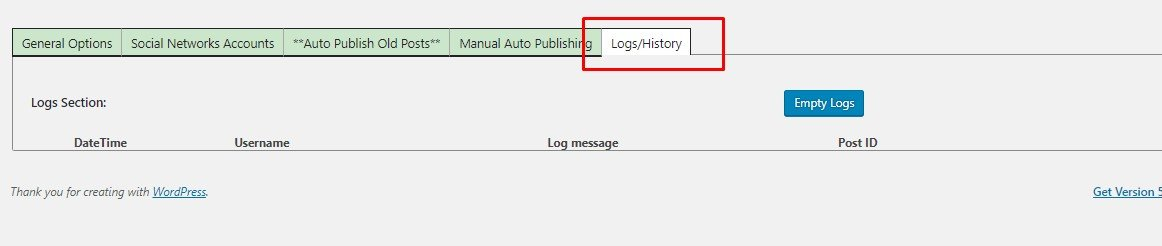 log and history option