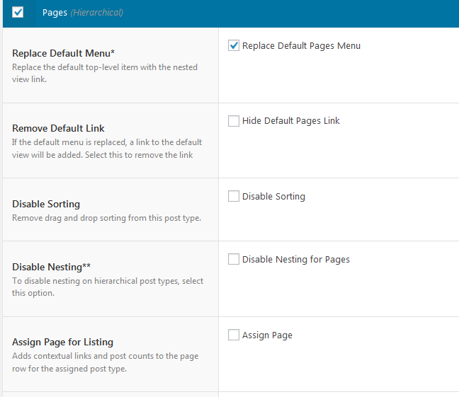 Nested pages - Page settings