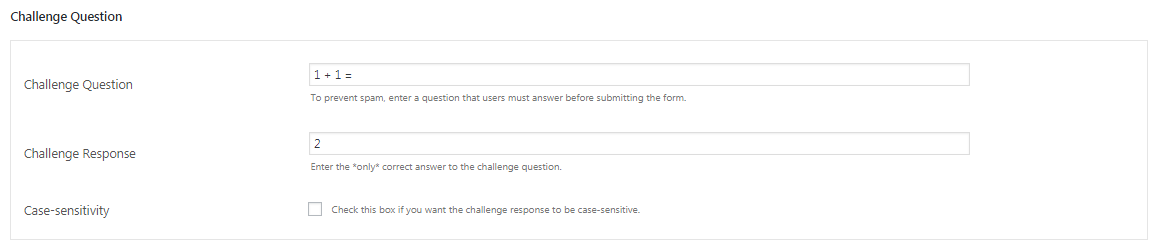 set the challenge question to lower the amount of spam submissions