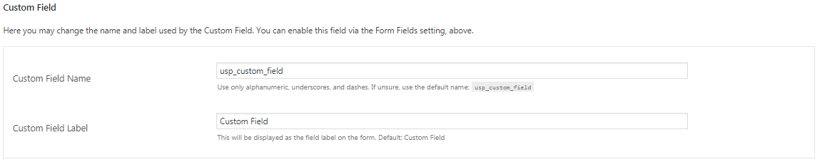 set the custom field name and label