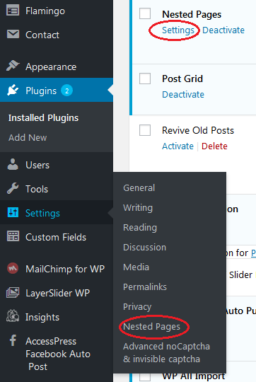 nested pages - settings