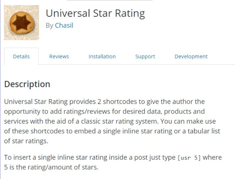 universal Star Rating
