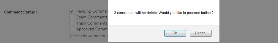 wp bulk delete comments dialogue