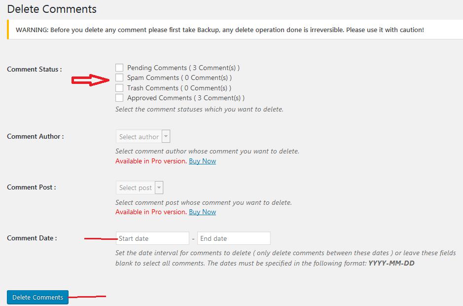 wp bulk delete comments