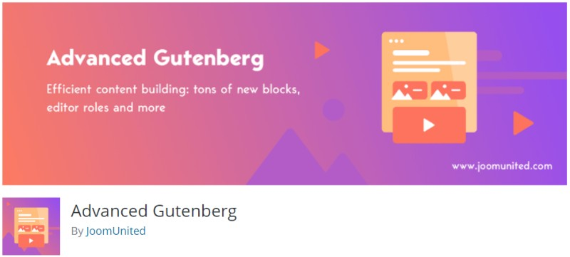 Advanced Gutenberg plugin in wordpress