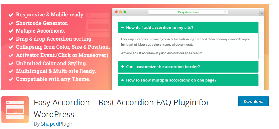 Easy Accordion FAQ Plugin For WordPress