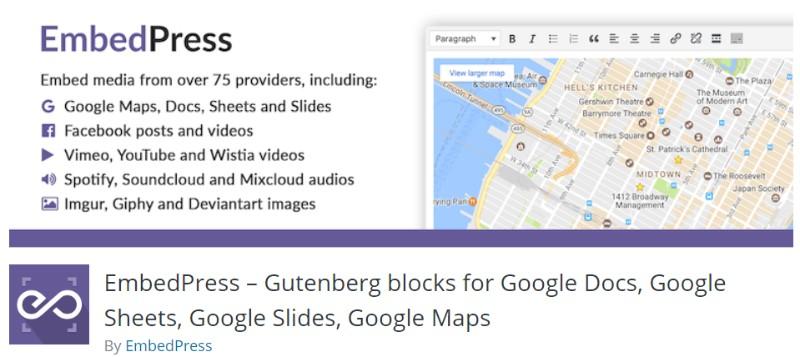EmbedPress plugin in wordpress