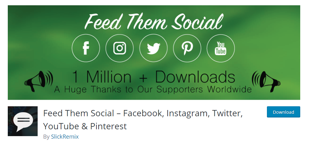 Feed Them Social FaceBook, Instagram, Twitter, YouTube and Pinterest plugin