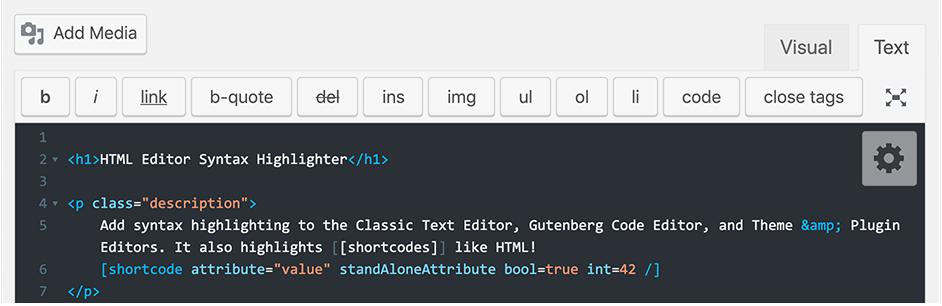 HTML Editor Syntax Highlighter plugin for wordpress