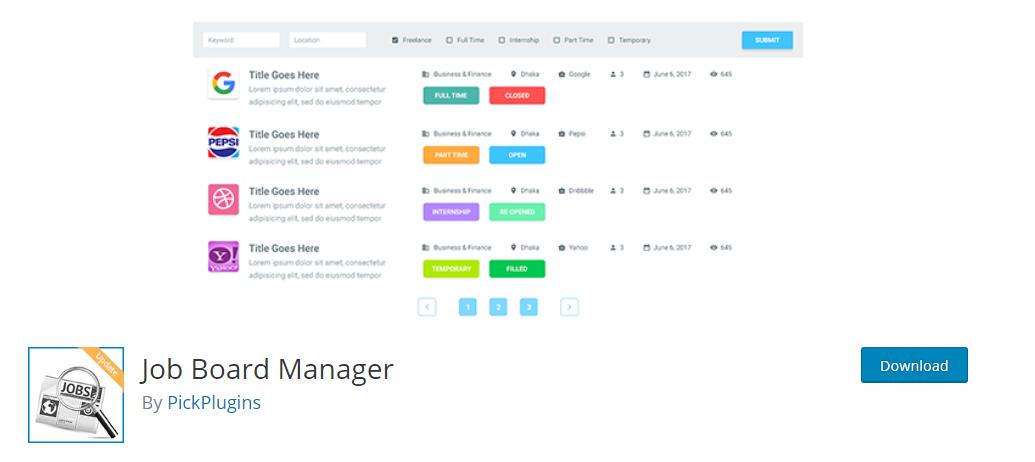 Job Board Manager plugin for wordpress