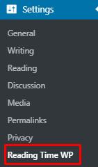 Reading Time WP plugin menu