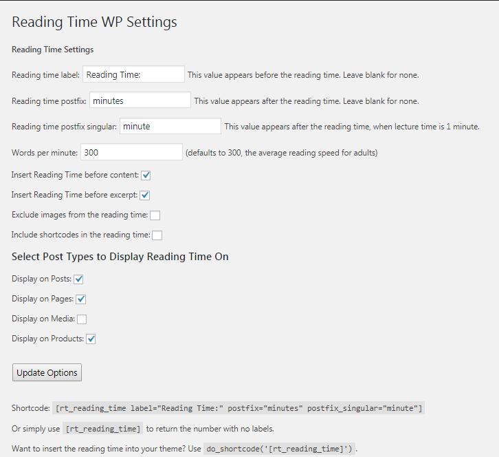 Reading Time WP plugin settings