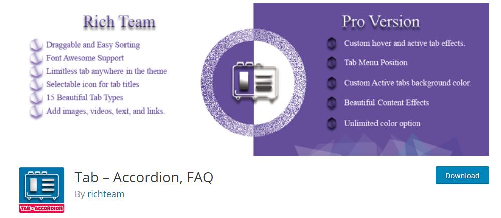 Tab Accordion FAQ plugin for wordpress