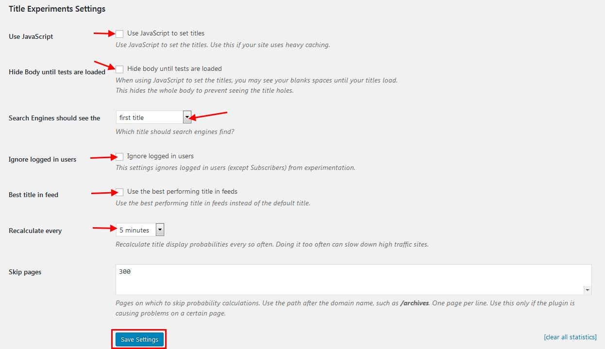 Title Experiments free plugin settings