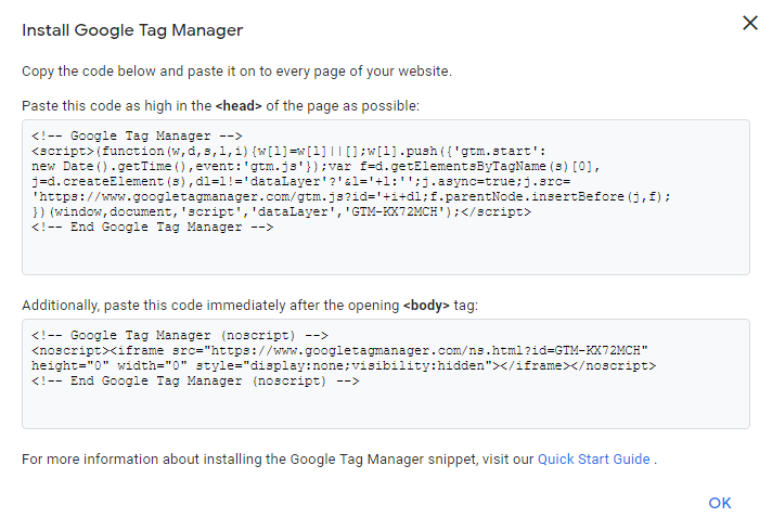 Tracking code for installing google tag manager