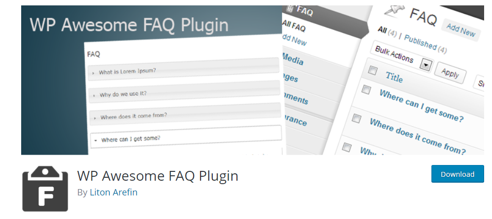 WP Awesome FAQ Plugin